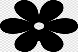 Single Flower Silhouette PNG Clipart