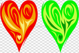 Red Green Fire Heart Transparent PNG