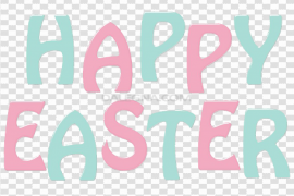Happy Easter Logo Word PNG Transparent