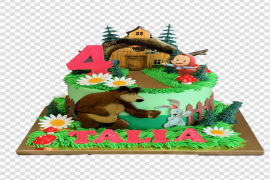 Masha And The Bear Cake PNG Picture
