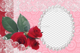 Red Flower Frame PNG Photo