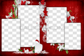 Red Christmas Frame PNG Transparent Picture