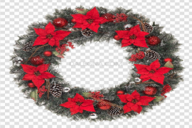 Red Christmas Wreath PNG Pic