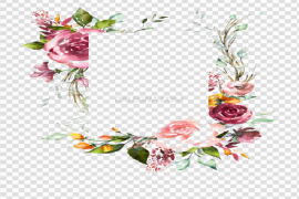 Watercolor Floral Flower Frame PNG Photos