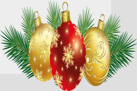 Red Christmas Ornaments PNG Clipart