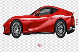 Side View Red Ferrari PNG Transparent Image
