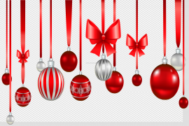 Hanging Christmas Ornaments PNG Photo