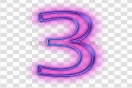 Neon Number PNG Photo