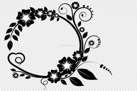 White Flower Frame PNG Free Download