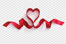 Valentines Day Heart Ribbon PNG