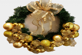 Gold Christmas Wreath PNG Image