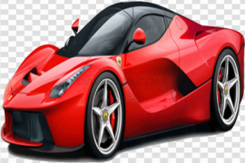 Side View Red Ferrari PNG Photos