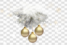 Gold Christmas Ornaments PNG Pic