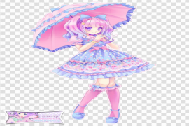 Pastel Anime Girl PNG Background Image