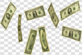 Falling Money Notes PNG Photo