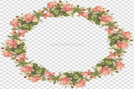 Round Flowers Frame PNG