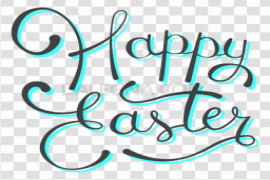 Happy Easter Logo Word PNG Transparent Picture