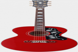 Red Electric Guitar PNG Background Image