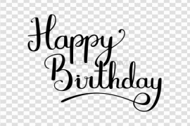Happy Birthday Calligraphy PNG Transparent Image