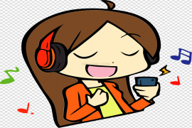 Girl Listening Music Vector Clipart PNG