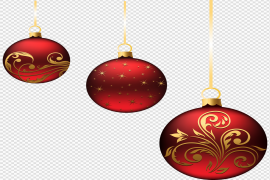 Red Christmas Ornaments PNG HD