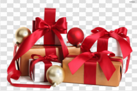 Red Christmas Gift PNG Background Image