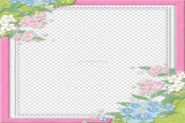 Pink Flowers Frame PNG