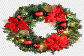 Red Christmas Wreath PNG File