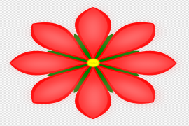 Red Single Flowers Vector PNG