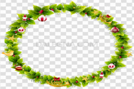 Round Christmas Frame Background PNG