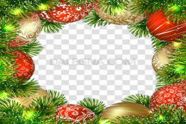 Christmas Ornaments Frame PNG Background Image