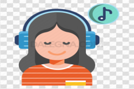 Smiling Girl Listening Music Clipart PNG
