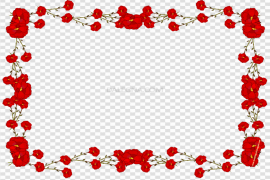 Red Flower Frame PNG Picture
