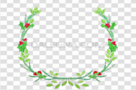 Watercolor Christmas Wreath PNG File