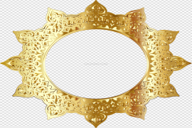 Golden Round Frame PNG Picture