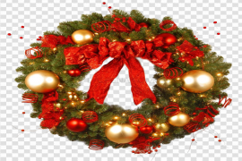 Red Christmas Wreath PNG HD