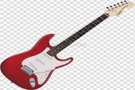 Wooden Red Electric Guitar PNG