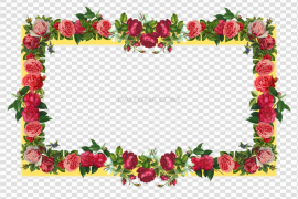 Red Flower Frame PNG Photos