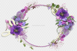 Floral Round Frame PNG Pic