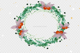 Watercolor Christmas Wreath PNG Pic
