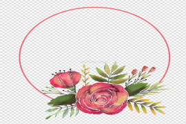 Flowers Frame Circle PNG