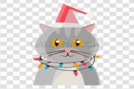Cat Christmas Background PNG
