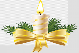 Gold Christmas Candle Background PNG