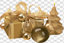 Gold Christmas Gift PNG Transparent Image