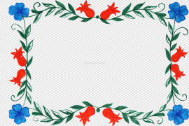 Colorful Flowers Frame PNG