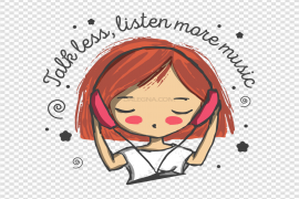 Clipart Girl Listening Music Transparent PNG