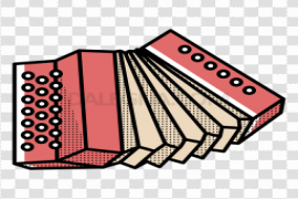 Vector Red Accordion PNG Transparent Image