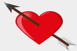 Red Heart Arrow Transparent PNG