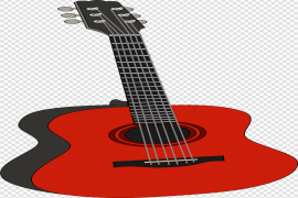 Music Red Guitar PNG Image