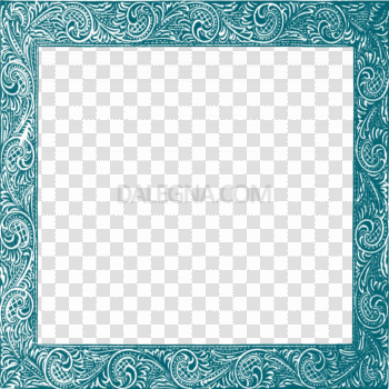 Square Teal Frame PNG HD